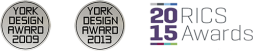 Award Logos York Design Award 2009 and 2013 and RICS Awards 2015