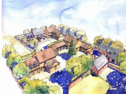 Artist's Coloured aerial sketch of new housing development in Yorkshire Village